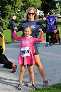 Sharon with daughter Lucy at the YC Superhero Dash.